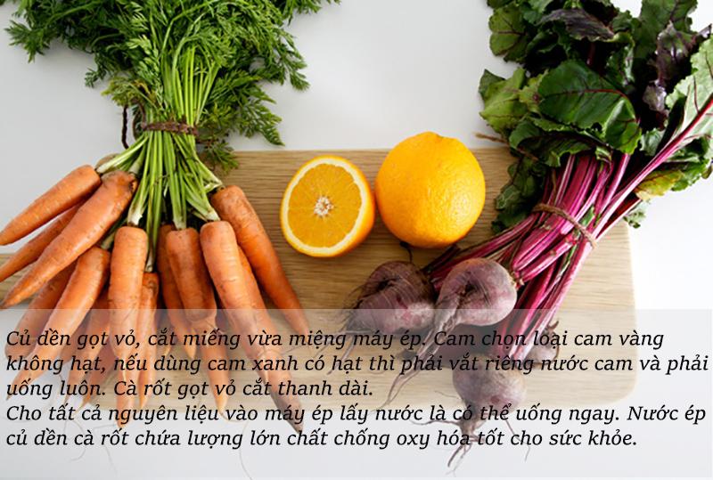 cách làm nước ép củ dền- cà rốt- cam