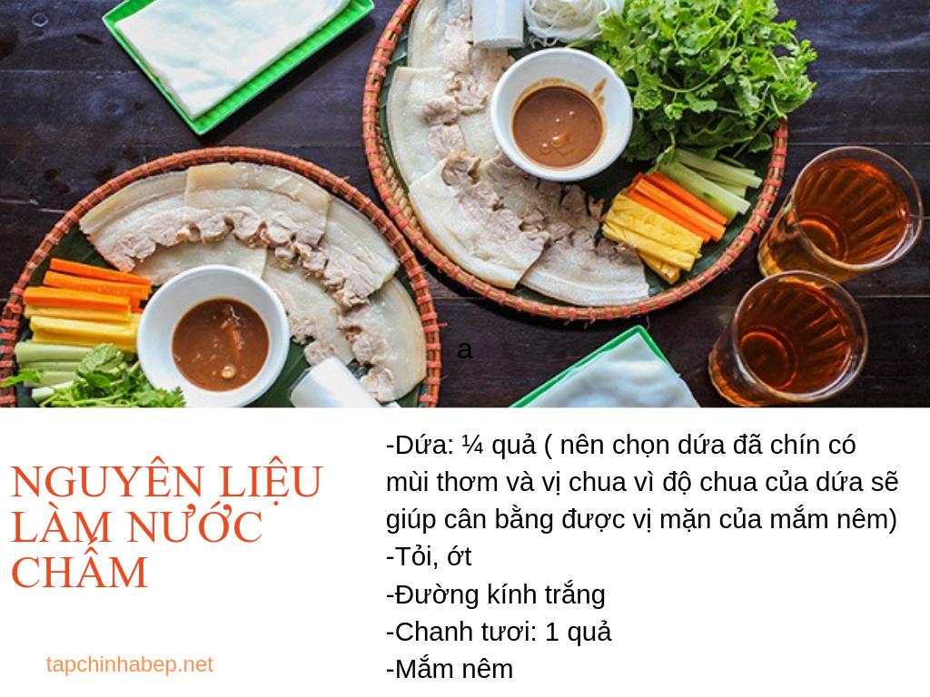 Nguyên liệu làm nước chấm bánh tráng cuốn thịt Đà Nẵng
