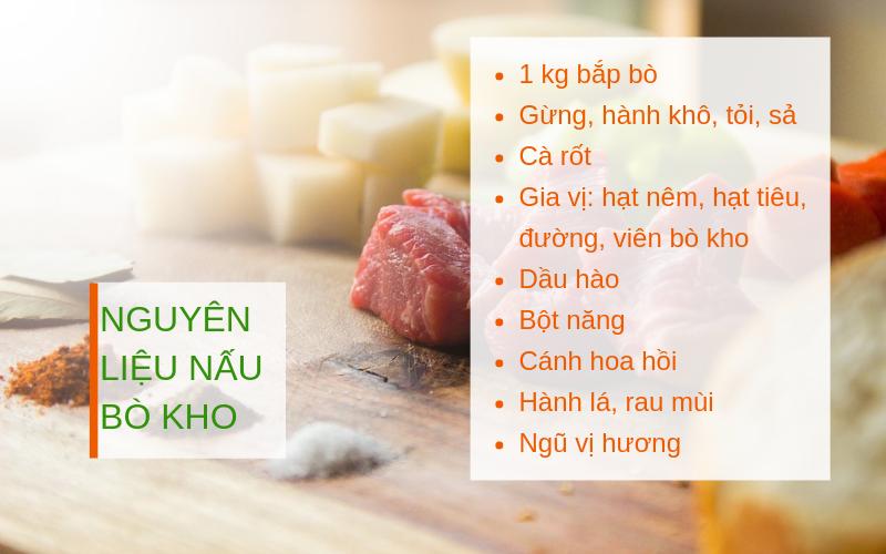 nguyên liệu nấu bò kho