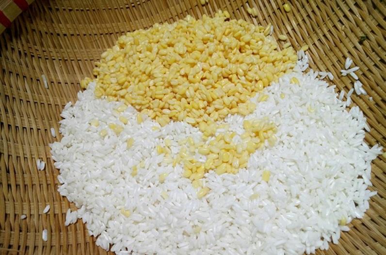 trộn gạo với đỗ xanh