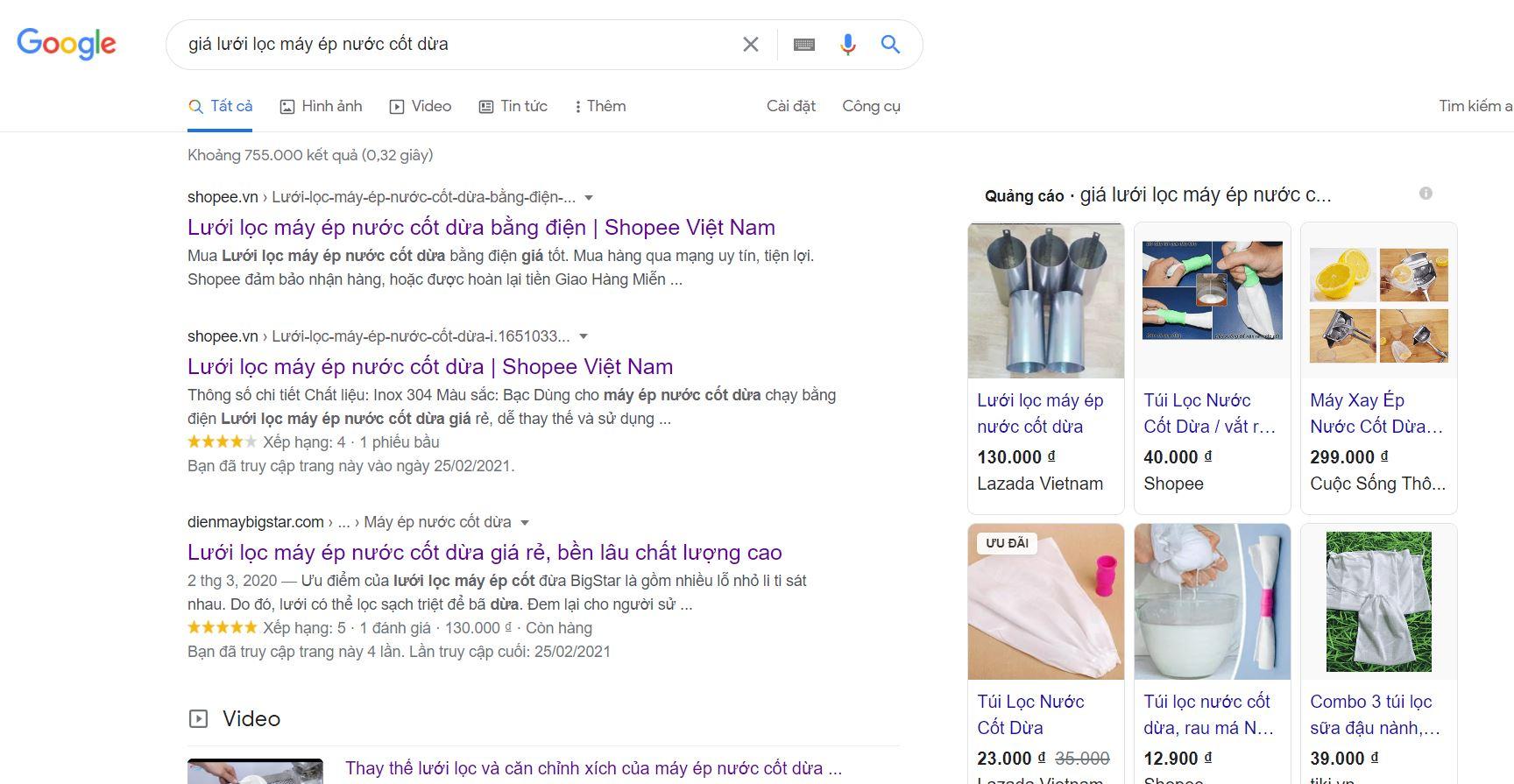 search giá lưới lọc máy ép nước cốt dừa trên google